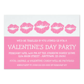 """Lips Silhouette Valetine's Day (Pink / Silver) 5"""" X 7"""" Invitation Card"""