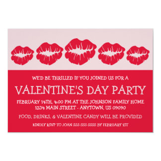 """Lips Silhouette Valetine's Day (Red) 5"""" X 7"""" Invitation Card"""