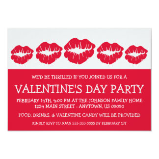 """Lips Silhouette Valetine's Day (Red / Silver) 5"""" X 7"""" Invitation Card"""