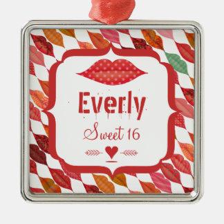 Lips Sweet 16 Vintage Retro Silver-Colored Square Ornament