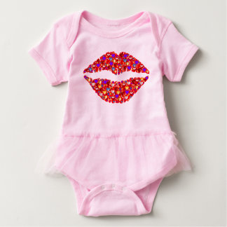 Lips with heart detail Baby Girl tutu bodysuit