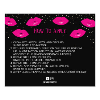 LipSense Distributor Hot Pink Lips How to Apply Flyer