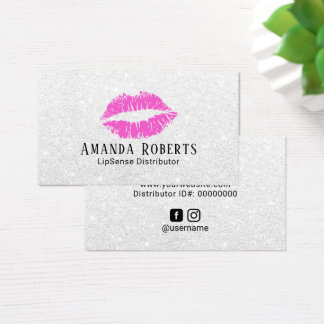 Lipsense Distributor Pink Lips Silver Glitter Business Card