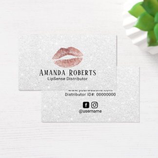 Lipsense Distributor Rose Gold Lips Silver Glitter Business Card
