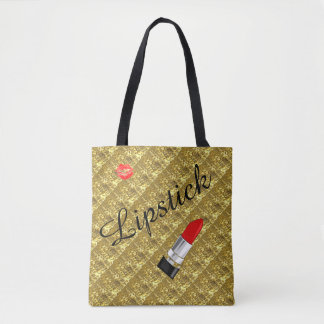 LIPSTICK AND LIPS GOLD BACKGROUND TOTE BAG