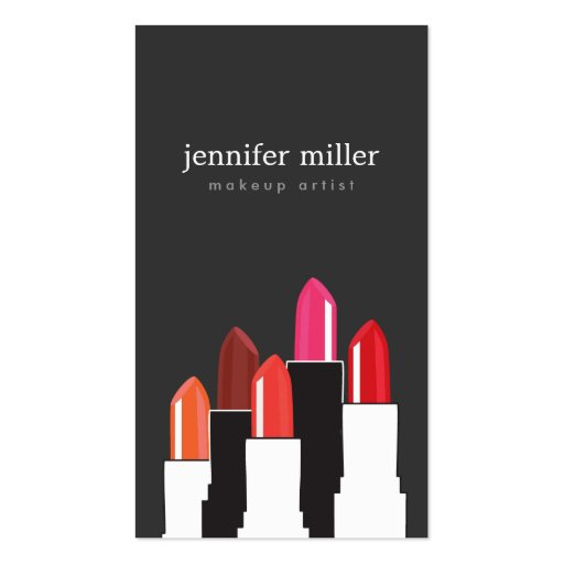 Lipstick Collage Makeup Artist and Cosmetics Business Card Template