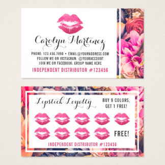 Lipstick Distributor Floral Kiss Lip Loyalty Punch Business Card