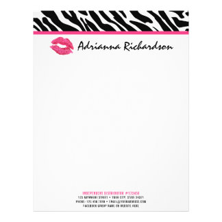 Lipstick Distributor Marketing Zebra Kiss Lips Letterhead