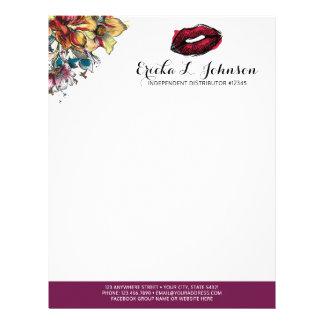 Lipstick Distributor Modern Floral Kiss Marketing Letterhead