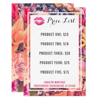 Lipstick Distributor Price List Floral Kiss Lips Card