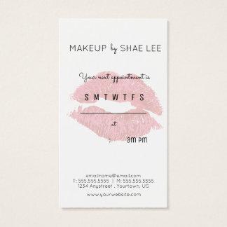Lipstick Kiss Makeup Artist Appointment Reminder Business Card