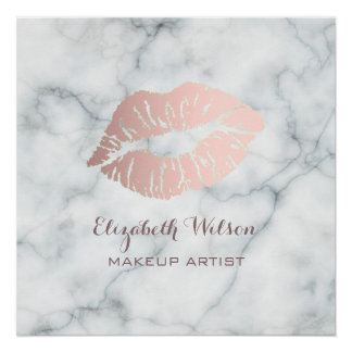 lipstick kiss on marble makeup artist perfect poster