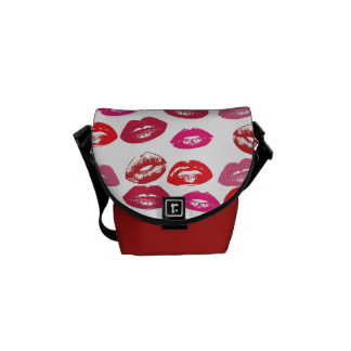 Lipstick Kisses Rickshaw Messenger Bag