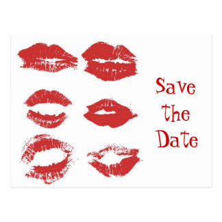 Lipstick Kisses - Save teh date Postcard