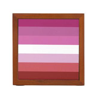 Lipstick Lesbian | Pride Flag Design | Stripes | Desk Organizer