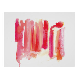 Lipstick Memories Watercolor Wash Pink Red Large Poster