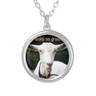 Lipstick on a goat silver plated necklace