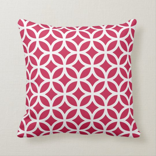 Lipstick Red Geometric Pattern Pillow