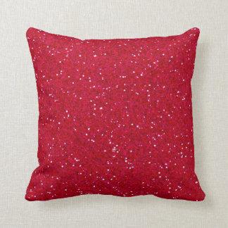 Lipstick Red Glitter Throw Pillow