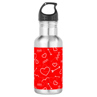 Lipstick Red White Valentines Love Heart and Arrow 532 Ml Water Bottle