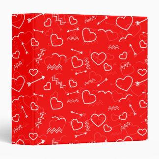 Lipstick Red White Valentines Love Heart and Arrow Binder