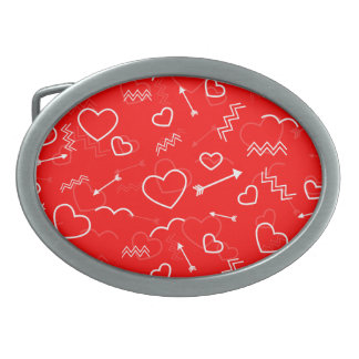 Lipstick Red White Valentines Love Heart and Arrow Oval Belt Buckle