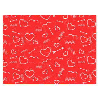 Lipstick Red White Valentines Love Heart and Arrow Tissue Paper