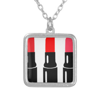lipstick silver plated necklace