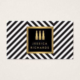 Lipstick Trio Logo Black/White Pattern Beauty Business Card