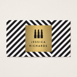 Lipstick Trio Logo on Retro Black/White Pattern II Business Card