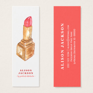 Lipstick watercolor red gold lip color distributor mini business card