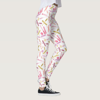 Lipsticks Glosses & Lip Print Kisses on White Leggings