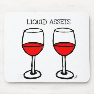"""""""LIQUID ASSETS"""" FUN RED WINE PRINT MOUSE PAD"""
