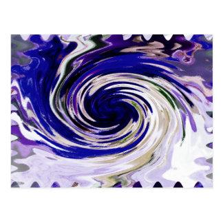 Liquid Blue Vortex Abstract Art Postcard