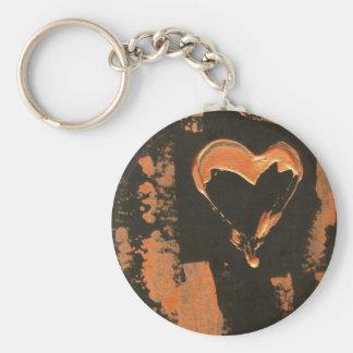 Liquid Copper Heart Keychain