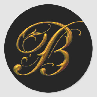 Liquid Gold B monogram Round Sticker