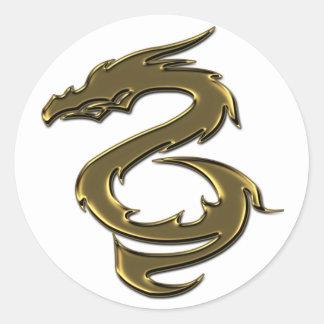 Liquid Gold Dragon Round Sticker