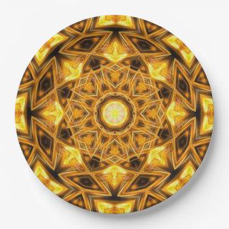 Liquid Gold Mandala Paper Plate