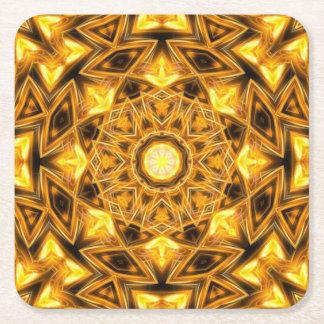 Liquid Gold Mandala Square Paper Coaster