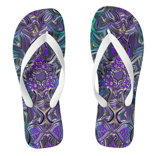 Liquid Lavender Mandala Flip Flops