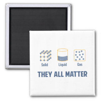 Liquid Solid Gas - They All Matter Square Magnet