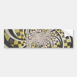 Liquid Taxi Cab, a Yellow Checkered Retro Fractal Bumper Sticker