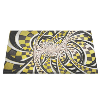 Liquid Taxi Cab, a Yellow Checkered Retro Fractal Canvas Print