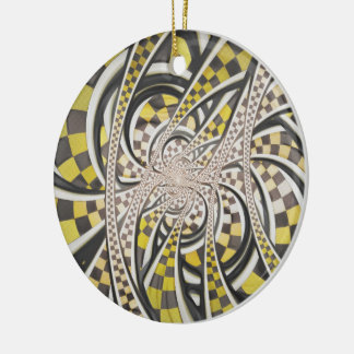 Liquid Taxi Cab, a Yellow Checkered Retro Fractal Ceramic Ornament