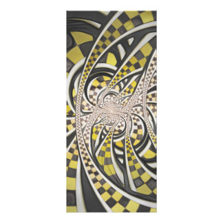 Liquid Taxi Cab, a Yellow Checkered Retro Fractal Custom Rack Card