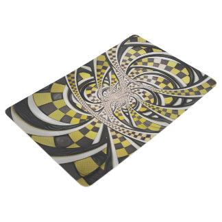 Liquid Taxi Cab, a Yellow Checkered Retro Fractal Floor Mat