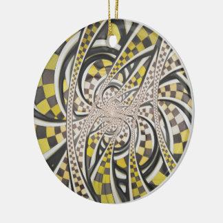 Liquid Taxi Cab, a Yellow Checkered Retro Fractal Round Ceramic Ornament