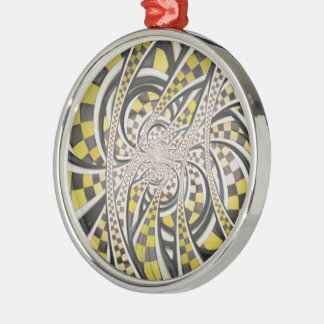 Liquid Taxi Cab, a Yellow Checkered Retro Fractal Silver-Colored Round Ornament