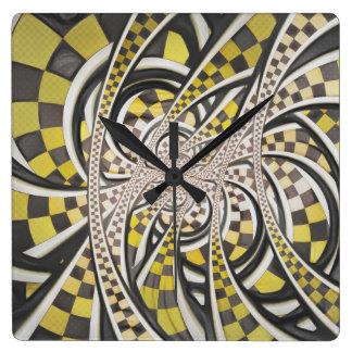 Liquid Taxi Cab, a Yellow Checkered Retro Fractal Square Wall Clock