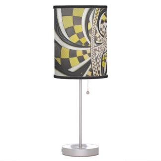 Liquid Taxi Cab, a Yellow Checkered Retro Fractal Table Lamp